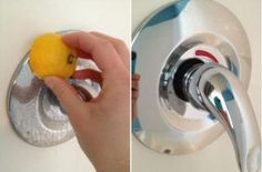 -> Clean water stains by rubbing them with a sliced lemon. The citric acid dissolves the stains like magic.