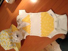 Itsy Bitsy Teeny Weeny Yellow Polka Dot Bikini Onesie with Matching Reversible Bucket Hat $30.00