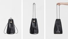 Convertible backpack & purse, Smooth black leather, Rubber shoulder strap, Leather tassels, Wood block cinch closure, Leather lined base