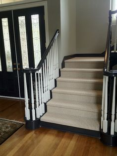 Love the runner and black handrail with white spindles