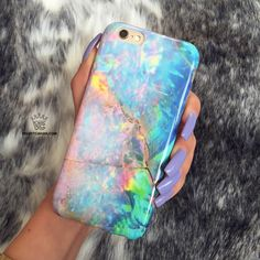 Protective blue opal marble phone case (printed, not iridescent) for an elegant look. The unicorn charger will be shown as an option after you add this case to