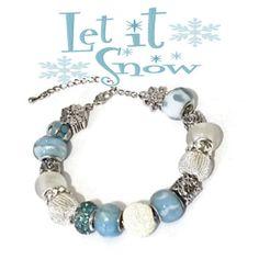 Let IT Snow European Style Bracelet by JannysStorybeads on Etsy, $40.00