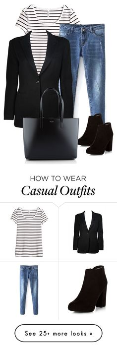 """""""Black casual ootd"""" by angiehn on Polyvore featuring мода, H&M, Giorgio Armani и Yves Saint Laurent"""