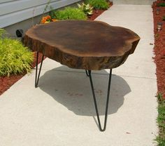 Mid Century Nakashima Era Burl Wood Slab Coffee table Eames Era Hair Pin Legs on eBay!