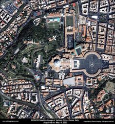 High-resolution (80 cm) satellite image of Vatican City taken with the IKONOS satellite on 5 May 2003.