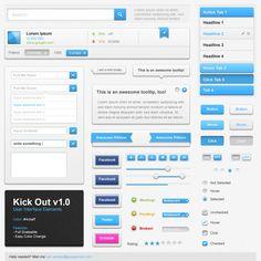 Free KICK-ASS GUI PSD - 4 Colors
