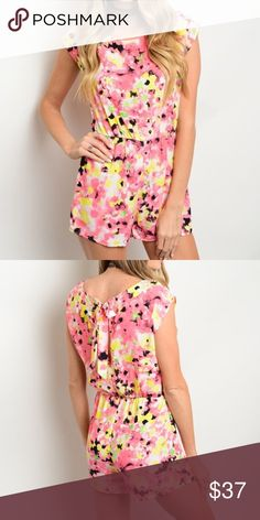 """☀️SALE☀️Bright Colored Floral Romper floral romper features a round neckline, gathered waist and lace trim on sleeves. Made of soft rayon.  Measurements  small Length: 31"""" Bust: 30"""" Waist: 24"""" without the stretch. Bchic Pants Jumpsuits & Rompers"""