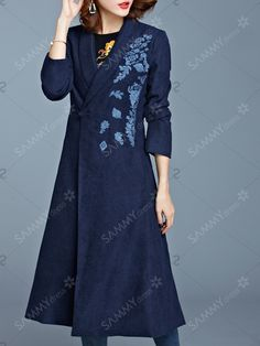 Pocket Design One Button Embroidered Coat