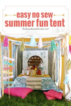Cute Alice in Wonderland themed tent with DIY instructions {no sew project}