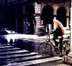 Rain and bike in Bologna