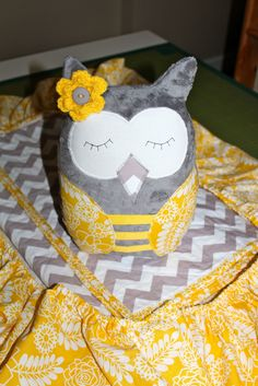 EEKs boutique: dear stella yellow floral and gray chevron nursery: owl pillow, sheet, blanket Chevron Nursery Boy, Owl Nursery, Gray Chevron, Owl Pillow, Crafty Projects, Quilt Making, Project Ideas, Kid Stuff, Bliss