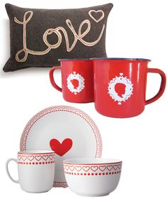 Spread the love in your home: Love scatter cushion, R225 from Woolworths | Plate R29,95; Bowl R29,95; Mug R25; all Woolworths | Enamel mugs, R40 each by Tjou-Tjou at Hello Pretty http://www.goodhousekeeping.co.za/en/2013/02/great-valentines-day-gifts/#