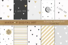 Valentine's Digital Paper - I Love You - Elegant and Romantic Gray, White and Gold Printable Papers for Scrapbook, Card Making, Crafting... by Maishop Digital Art