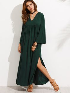 Dark Green V Neck Bell Sleeve Split Maxi Dress