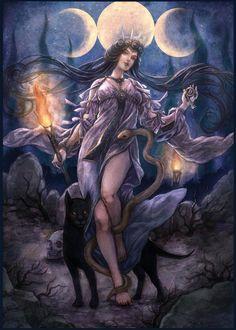Hecate by jurithedreamer on DeviantArt Magick, Witchcraft, Imagenes Dark, Hecate Goddess, Gothic Fantasy Art, Greek Gods, Illustrations, Gods And Goddesses, Greek Mythology