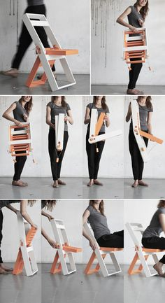 The most exciting folding chair for me has been the Doppel Gan Gar C1-71 folding chair. In comparison, it is really lightweight and portable. This folding chair here, designed by Polish designer Pawel Kochanski may not be anywhere close to the C1-71 in size or portability, but it is certainly more compact when folded, than other wooden chairs you must have seen. Wood Chair Design, Furniture Design, Wooden Folding Chairs, Compact, Polish, Vitreous Enamel, Nail, Nail Polish, Nail Polish Colors