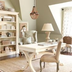 Gorgeous home office. (But I feel like I will also like this as a nursery...haha) | Soothing Interiors | LFF Designs | www.facebook.com/LFFdesigns