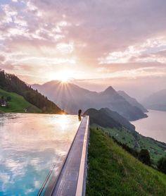 Relaxing - Outdoor pool at Hotel Villa Honegg (Switzerland - Bürgenstock ) // by neskirimli