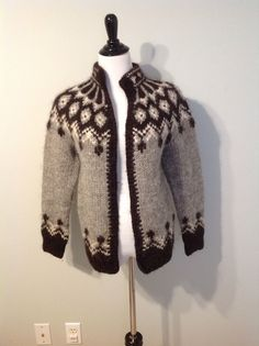 LOVE THIS PATTERN - Would LOVED on made to me. But look at the neck - keeps you warm - and no buttons - just wrap it around you - & stay warm Icelandic Sweaters, Stay Warm, Knit Cardigan, Cardigans, Buttons, Island, Patterns, Knitting, Clothes