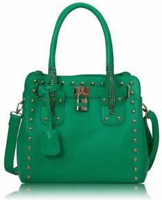 Womens Green Emerald Studded Tote Padlock Handbag - KCMODE KCMODE, To BUY or SEE just CLICK on AMAZON right here http://www.amazon.com/dp/B00EZ3ZK3K/ref=cm_sw_r_pi_dp_B.0stb1HAW2BG0M9