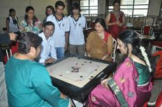Carrom at Annual Sports day  - Narsee Monjee College of Commerce and Economics.