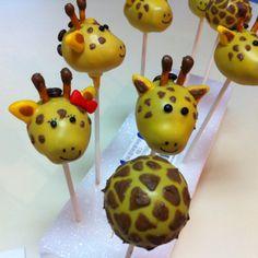 Giraffe Cake Pops Giraffe Birthday Cakes, Giraffe Cakes, Safari Cakes, Giraffe Party, Sweet 16 Cakes, Cute Cakes, Jungle Cake Pops, Food On Sticks, Baby Shower Cake Pops