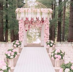 Beautiful pink flowers at this wedding ceremony