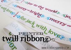 Printed Twill Ribbon Tutorial  Using fabric, freezer paper and your computer printer.  My MIL told me about doing this and I'm so glad I found a tutorial with step-by-step instructions and pics.  Perfect for making labels for handmade crafts.
