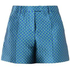 Boutique Moschino Shorts (12,835 DOP) ❤ liked on Polyvore featuring shorts, bottoms, pants, bright blue, zipper shorts, mid rise shorts, polka dot shorts, dot shorts and brocade shorts