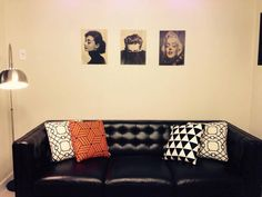 black coach, fabric cusions and some pictures on the wall. i wanna decorate my wall with our lovely moments.