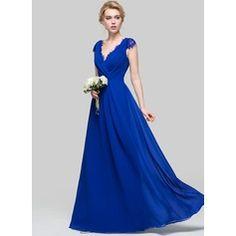Vestidos princesa/ Formato A Decote V Longos Tecido de seda Vestido de madrinha com Pregueado (007090176)