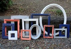Set of 12 Upcycled Picture Frames  Coral by TheSpeckledEgg2011, $177.00