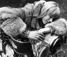 Photo from the film 'The Girl on a Motorcycle', 1968 starring Marianne Faithfull and French actor Alain Delon. Born December 1946 Marianne Evelyn Faithfull is an English singer, songwriter and actress, whose career has spanned six decades. Anita Pallenberg, Jerry Hall, Marianne Faithfull, Jean Shrimpton, Bianca Jagger, Mick Jagger, Rolling Stones, Hippie Man, Hippie Chic