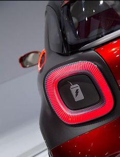 Car Grey LED Light Material Break Matte Red Rounded smart Transport