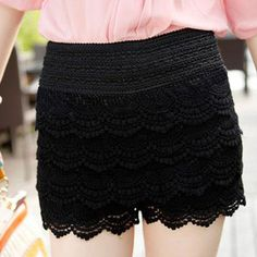 Elastic Waist Black Lace Shorts with heels tights or boots. I can free this mixed with tkps and accessories.