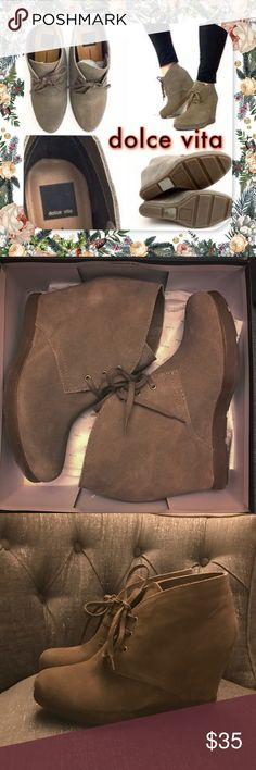 """💰AMAZING DEAL💰Dolce Vita taupe suede booties !!! DOLCE VITA """"Pascola, taupe suede"""" lace up booties with original box • size 10 • worn once - excellent condition • purchased from Sax Off Fifth • search this boot on Posh- I have the BEST PRICE by a mile!! TTS & super comfortable - selling only b/c I have too many boots, so these didn't get the use they deserve! • color best matches photo collage (web image w/ my own design). Make a statement in these adorable booties paired w/ cuffed up…"""