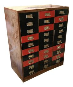 1950's Industrial Machine Age File Cabinet on Chairish.com