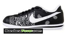 "Bandana Fever - Nike ""Retro NFL Raiders Bandana"" Cortez Leather Black/White by Bandana Fever, $149.99 (http://store.bandanafever.com/nike-retro-nfl-raiders-bandana-cortez-leather-black-white-by-bandana-fever/)"