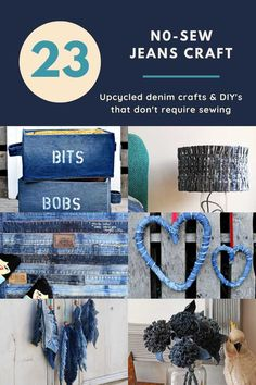 A collection of the coolest old jeans upcycles that are no-sew.  A great way to repurpose denim there is a jeans craft for everyone.  #repurposedjeans #denimupcycle Diy Sewing Projects, Craft Tutorials, Craft Ideas, Best Fabric Glue, Denim Scraps, Upcycled Crafts, Upcycled Clothing, How To Make Tassels, Fabric Placemats