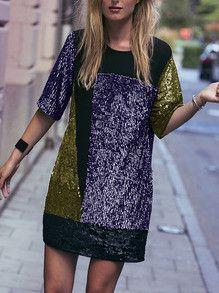 Purple Gold Black Sequins Dress