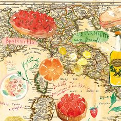 illustration on vintage map of Italy