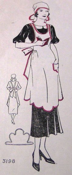 1930 apron patterns | RARE Vintage 1930's Apron & Cap Pattern #3198 Household Management ...