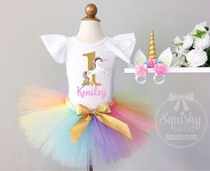 A Unicorn Birthday Party is the trendiest party theme of the year! And we have you covered with the most adorable Personalized Unicorn Outfit! We can do it with ANY NAME and in ANY AGE! This Unicorn b