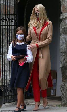 Donald Trump Facts, Donald Trump Daughter, Ivanka Trump Style, Trump Is My President, First Daughter, Wrap Coat, Going Out Outfits, Red Pants, Mommy And Me