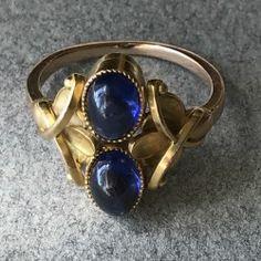 Georg Jensen 14Kt Gold Ring With Sapphire Cabuchons No 330A, Handmade Sterling Silver - Gallery 925