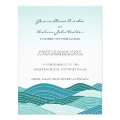 Beach Wedding  - Deep Blue Sea Invitation