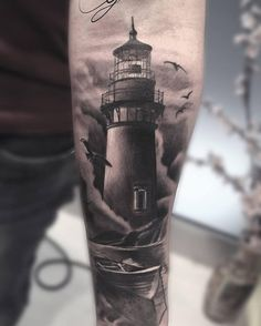 lighthouse-tattoo - 30 Lighthouse Tattoo Ideas <3 <3