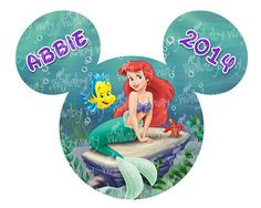 Disney Little Mermaid Printable Iron On Transfer Mickey Head by TheWallabyWay - Perfect for a Trip to Disney or Little Mermaid Birthday - Disney Family Matching Shirts
