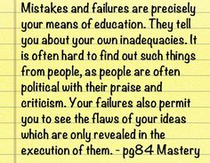 Mastery - Robert Greene. Quote on mistakes and failures