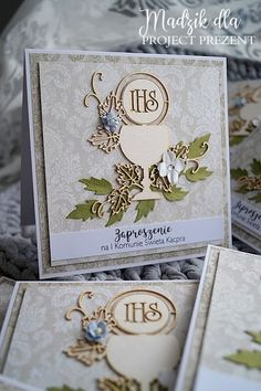 Madzik Scrapuje: Zaproszenia komunijne 2018 First Communion Cards, Scrapbook Cards, Scrapbooking, Communion Favors, Big Shot, Decorative Boxes, Projects To Try, About Me Blog, Place Card Holders